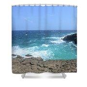 Lava Rock Cliffs And Crashing Ocean Waves In Aruba Shower Curtain