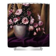 Lavander And Pink Flowers In Silver Vase Shower Curtain