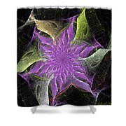 Lavendar Fractal Flower Shower Curtain