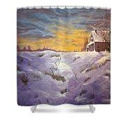 Lavendar Snow Shower Curtain