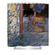 Lavender Blooming Near Stairway Shower Curtain