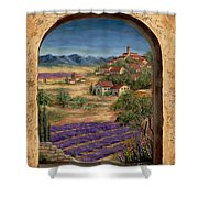 Lavender Fields And Village Of Provence Shower Curtain by Marilyn Dunlap