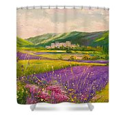 Lavender Fields Landscape Shower Curtain