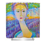 Lavender Lady Art Deco, Decorative Woman Painting, Woman Figure Print For Sale. Pretty Girl Canvas  Shower Curtain