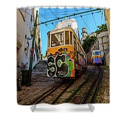 Lavra Funicular, Lisbon, Portugal Shower Curtain