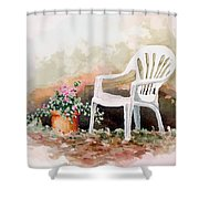 Lawn Chair With Flowers Shower Curtain