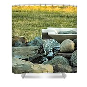 Lawn Water Feature Shower Curtain