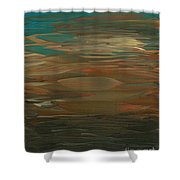 Layered Teal Sunset Shower Curtain