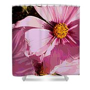 Layers Of Pink Cosmos - Digital Art Shower Curtain