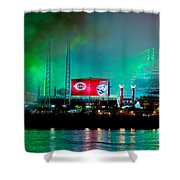 Laser Green Smoke And Reds Stadium Shower Curtain