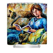 Lazy Time - Palette Knife Oil Painting On Canvas By Leonid Afremov Shower Curtain
