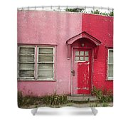 Lazy U Motel - Pink And Red Shower Curtain