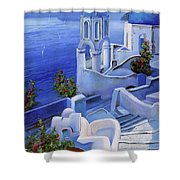 Le Chiese Blu Shower Curtain