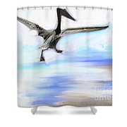 Le Decollage De Mon Pelican Shower Curtain