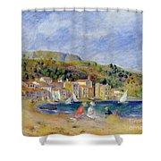 Le Lavandou Shower Curtain by Pierre Auguste Renoir