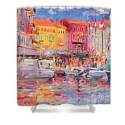 Le Port De St Tropez Shower Curtain by Peter Graham