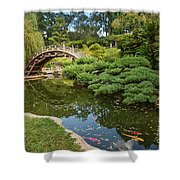 Lead The Way - The Beautiful Japanese Gardens At The Huntington Library With Koi Swimming. Shower Curtain