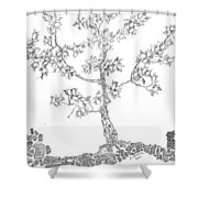 Leafy Jewels Shower Curtain by Regina Valluzzi