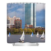 Lean Into It- Sailboats By The Hancock On The Charles River Boston Ma Shower Curtain