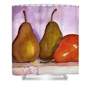 Leaning Pear Shower Curtain