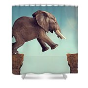 Leap Of Faith Concept Elephant Jumping Across A Crevasse Shower Curtain