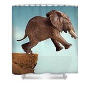 Leap Of Faith Concept Elephant Jumping Into A Void Shower Curtain