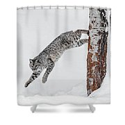 Leapin Bobcat Shower Curtain