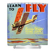 Learn To Fly Vintage Poster Restored Shower Curtain