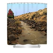 Learn To Swim, Creek Bed Quickly Filling With Water During Autumn Rainstorms In The High Desert Shower Curtain