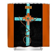 Leather And Stone Cross Shower Curtain