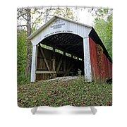 Leatherwood Station Covered Bridge Indiana Shower Curtain