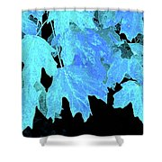 Leaves In Blue Shower Curtain