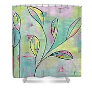 Leaves On Abstract Background Shower Curtain