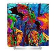 Leaves On Bricks Shower Curtain