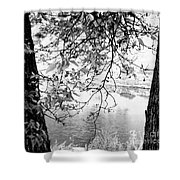 Leaves Over The River Shower Curtain