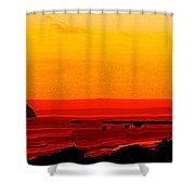 Leaving Basseterre Shower Curtain