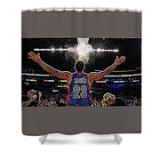 Lebron James Chalk Toss Basketball Art Landscape Painting Shower Curtain