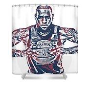 Lebron James Cleveland Cavaliers Pixel Art 54 Shower Curtain