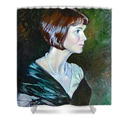 Ledy In Green Shower Curtain