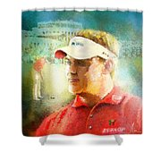 Lee Westwood Winning The Portugal Masters 2009 Shower Curtain