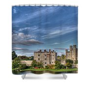 Leeds Castle And Moat Rear View Shower Curtain