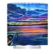 Left Alone A Seascape Boat Painting At Sunset  Shower Curtain