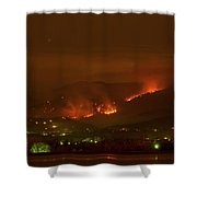 Lefthand Canyon Wildfire Night Time View Shower Curtain