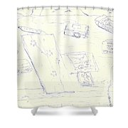 Lefty Coffee Table Shower Curtain