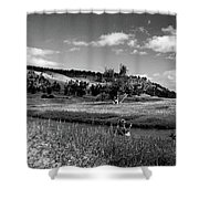 Legend Of The Bear Wyoming Devils Tower Panorama Bw Shower Curtain