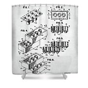 Lego Toy Building Brick Patent Shower Curtain
