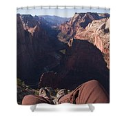 Legs Dangle Over The Cliff Looking Shower Curtain