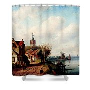 Leickert Charles A Village Along A River A Town In The Distance Shower Curtain