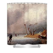 Leickert Charles A Winter Landscape With Skaters On A Frozen Waterway Shower Curtain