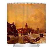 Leickert Charles Henri Joseph Winter And Summer Canal Scenes Scene  Shower Curtain